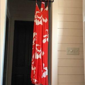 Tropical silk maxi dress